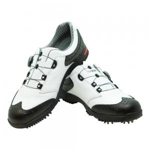 Men's Golf Shoe PGM Leather Auto-lacing - Black - White
